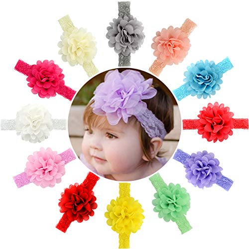 12pcs Baby Girls Headbands Chiffon Flower Lace Band Hair Accessories for Newborns Infants Toddlers -