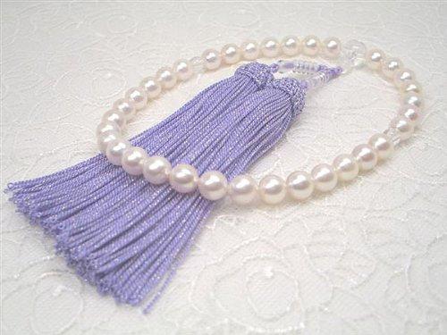 アコヤ真珠念珠(西陣織ケース付き) 鶯色 y-j-006 B007OQIR94 房の色 鶯色
