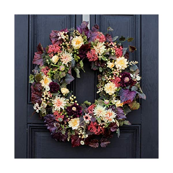 Darby Creek Trading Merlot & Mauve Wildflowers and Mums Fall Front Door Wreath