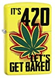 zippo pot leaf - Zippo Custom Lighter: Weed Leaf, It's 4:20 Let's Get Baked - Neon Yellow 79017