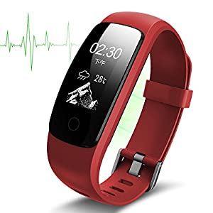 WatchTech Suivi d'activité avec Moniteur de fréquence Cardiaque–Fitness Tracker podomètre Montre Intelligente Bracelet de Chargement USB sans Fil avec prévisions météo
