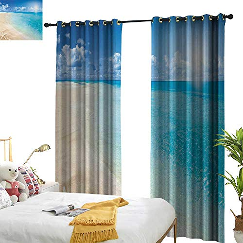 """Price comparison product image Littletonhome Beach Blackout Curtains Sunny Summer Seashore with Clear Sky Seashells Starfish Clouds Aquatic Picture Noise Reducing 97"""" Wx108 L"""