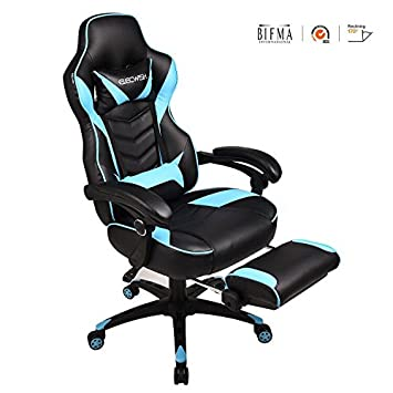 YOURLITE Video Game Chair High Back Computer Gaming Chair PU Leather Office Desk Chair Ergonomic Adjustable Swivel Chair with Headrest, Footrest and Lumbar Support, Sky Blue Black