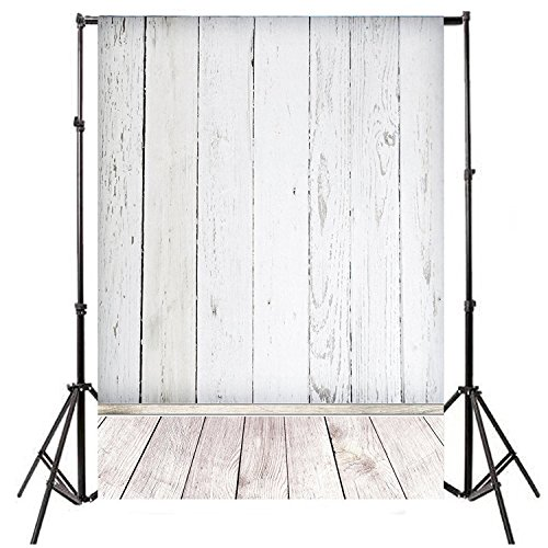 Mekingstudio 5X7FT Photography Backdrops Background Pictorial Cloth for Photo Video Studio Props - White Wood Texture by Mekingstudio