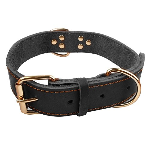 Picture of Beirui Leather Dog Collar - Soft Genuine Latigo Leather Made - Best Choice for Daily Walking or Sports Training - Black,15-19