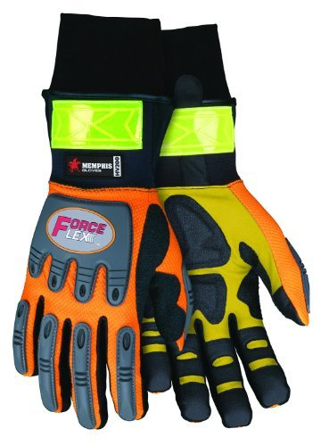 MCR Safety HV200XL ForceFlex High Visibility Clarino Synthetic Leather Gloves with Insulated Breathable, Water and Wind Resistant Bladder, Orange/Black, X-Large, 1-Pair by MCR Safety