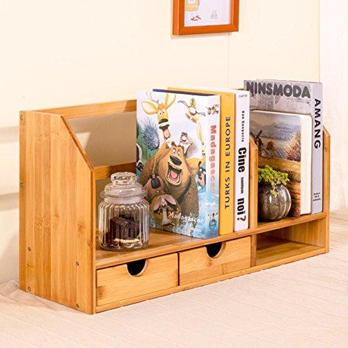 Rart Breve escritorio ordenado organizador,Estante del almacenaje de estante libro bricolaje Cajón organizador de escritorio-guardar su escritorio mesa más ordenado de bambú-B 50x18.5x30cm(20x7x12inch)