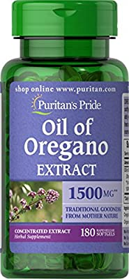 Puritan's Pride Oil of Oregano Extract 1500 mg, Oregano Oil Pills with Antioxidant Phytochemicals, 180 Rapid Release Softgels