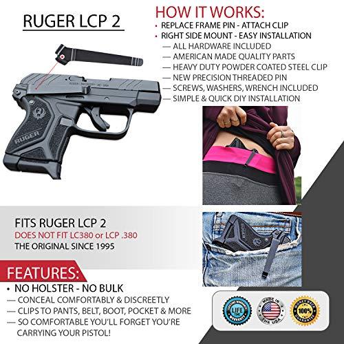 Clipdraw Concealed Gun Belt Clip for Ruger LCP Black (LCP 2