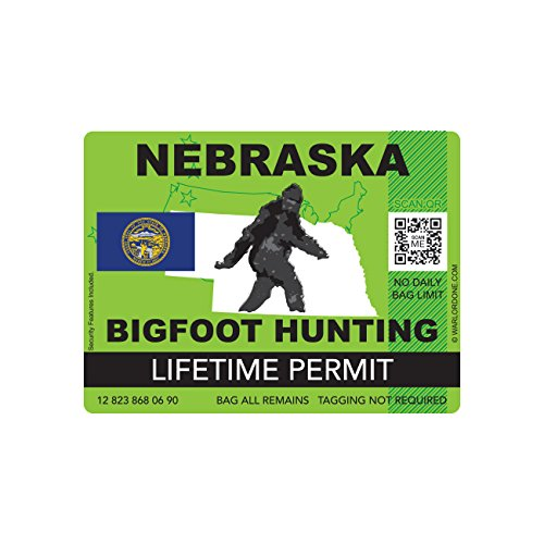Nebraska Bigfoot Hunting Permit Sticker Die Cut Decal Sasquatch Lifetime FA Vinyl