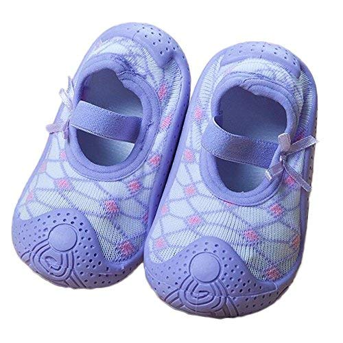 (Baby Socks Non Slip Newborn Baby Boy Socks With Soft Rubber Bottom Soles Cotton Socks Shoes (about 13 cm, Purple Rhombus) )