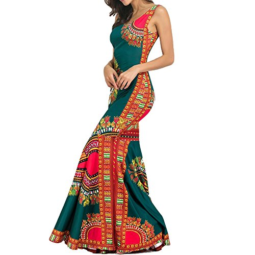 Vshop-2000 Womens Summer African Print Dashiki Long Maxi Tank Tops Dress Hem Fold Skirt