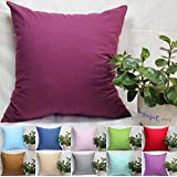 """TangDepot, Super Silky Soft, HIGHEST QUALITY 100% Cotton Solid Decorative Throw Pillow Covers, Pillowcases, euro shams, many color & size options, Baby Blue, Baby Pink, Beige, Coffee, Gray, Green, Mint, Navy Blue, Purple, Red, Wine, 12"""" x 12"""", 12"""" x 18"""", 12"""" x 20"""", 14"""" x 14"""", 16"""" x 16"""", 18"""" x 18"""", 20"""" x 20"""", 22"""" x 22"""", 24"""" x 24"""" and 26"""" x 26"""" - (24""""x24"""", Wine)"""