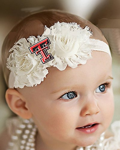 Future Tailgater Texas Tech Red Raiders Baby/Toddler Shabby Flower Hair Bow Headband (Toddler/16) (Red Tech Raiders Texas Tailgater)