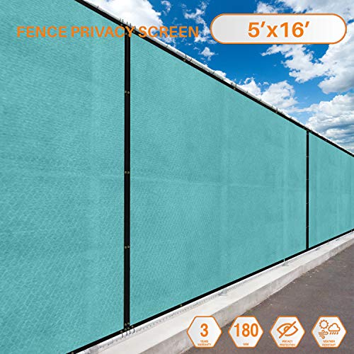 (Sunshades Depot Tang Privacy Fence Screen 5'x16' 180 GSM Heavy Duty Commercial Windscreen Residential Fence Netting Fence Cover 88% Privacy Blockage with Excellent Airflow 3 Years Warranty)