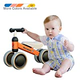 Ancaixin Baby Balance Bikes Bicycle Children Walker 10 Month - 24 Month Toys for 1 Year Old No Pedal Infant 4 Wheels Toddler Top First Birthday New Year Gift Orange