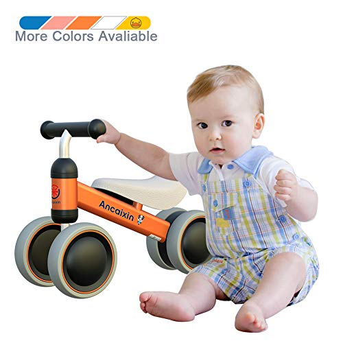 Ancaixin Baby Balance Bikes Bicycle Children Walker 10 Month - 24 Month Toys for 1 Year Old No Pedal Infant 4 Wheels Toddler Best First Birthday New Year Gift Orange