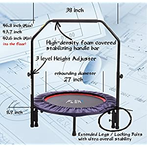 "PLENY 38"" Mini Fitness Trampoline with Handle Bar, 2-in-1 Lean Rebounder, Non-Foldable"