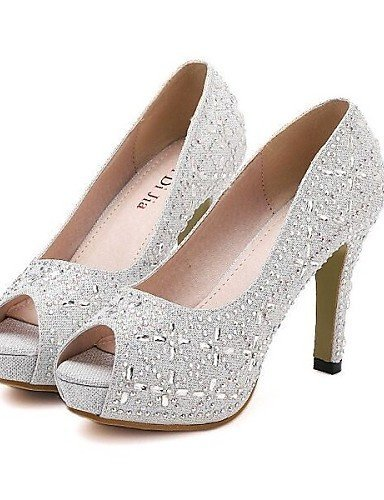 Synthetic Wedding 4in 4in available and 3 ShangYi Toe 4 Peep Comfort More Women's Heel silver Stiletto Pumps Platform Colors Shoes Party FWAw1