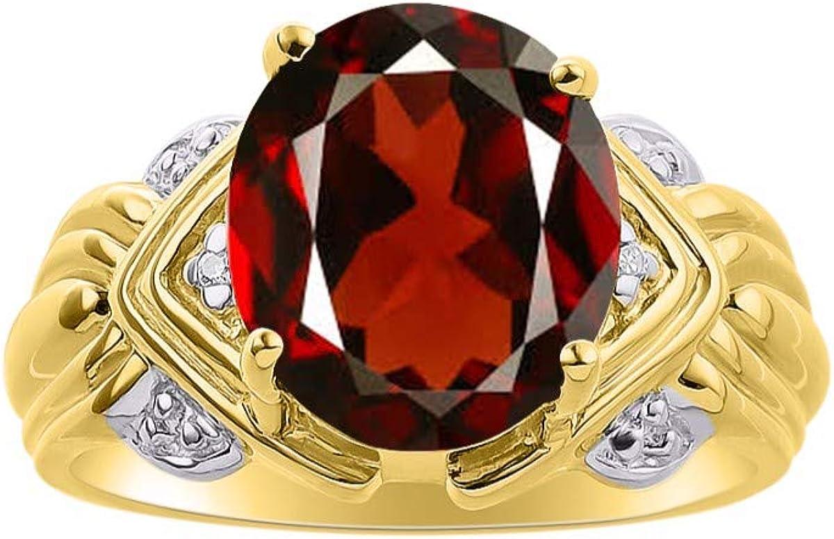 RYLOS anillo de granate y diamante con piedra de nacimiento de enero