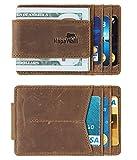 NapaWalli Genuine Leather Magnetic Front Pocket Money Clip Wallet RFID Blocking (Hunter Khaki)
