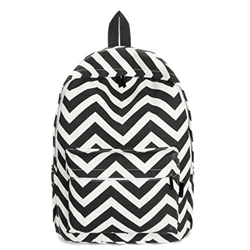 Aiweasi of Pretty Storage Backpack Gifts Fashion Girls Moire Canvas Satchel Striped Schoolbag Rucksack (Moire Gift)