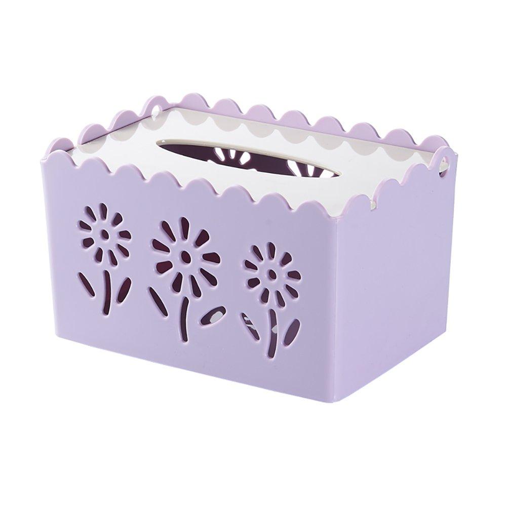 LXY プラスチックティッシュボックス クリエイティブ トイレトレイ ヨーロピアンデスクトップストレージボックス ティッシュボックス パープル 003 B07G5TZQ6B パープル