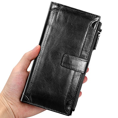 (Mens Genuine Long Leather Wallet Large Capacity Phone Card Slot Case (Black 01))