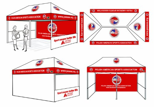 Eurmax PRE Pop up Canopy with Custom Printed Graphics - Instant Canopy Tent Portable Booth with Backwall Interior Side Printed Only (10 X 20) Canopy Side Rail