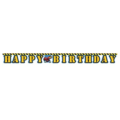 Happy Birthday Jointed Letter Banner, Under Construction: Childrens Party Banners: Kitchen & Dining