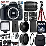 Canon EOS 77D DSLR Camera with 18-135mm is USM Lens + LED + UV FLD CPL Filter Kit + Wide Angle & Telephoto Lens + Camera Case + Tripod + Card Reader – International Version