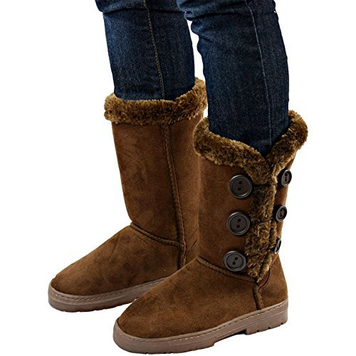 "9467b32c884 Women's 10"" Winter Boots Size 5-6 with Wooden Buttons Casual Mid-Calf"
