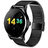 XuBa Smartwatch Waterproof K88H Smart Watch HD Display Screen Heart Rate Monitor Sport Fitness Tracker for Huawei Xiaomi mi Band 2 Steel Black Withbox