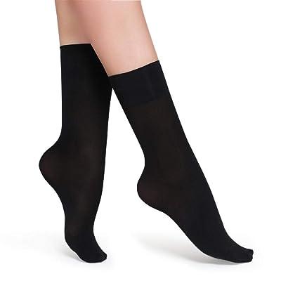TIGERROSA Calcetines Para Mujer120D Terciopelo Primavera Y Otoño Grueso Anti-Gancho Resistente Al Desgaste Señoras Medias De Tubo Corto 10 Pares De Negro: Ropa y accesorios