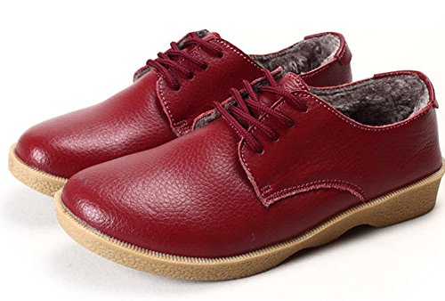 Aisun Women's Comfortable Lace Up Faux Fur-lined Sneakers Wine Red woeqOEOyI