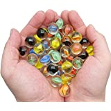 MANSHU 60 Pieces Glass Marbles for Marble Games , Eyes Glass Marble / Sling Shot Ammo , 0.63 inch , 6 Colors