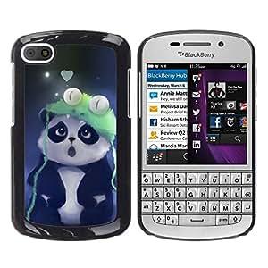 KLONGSHOP // Cubierta de piel con cierre a presión Shell trasero duro de goma Protección Caso - Cute Panda - BlackBerry Q10 //