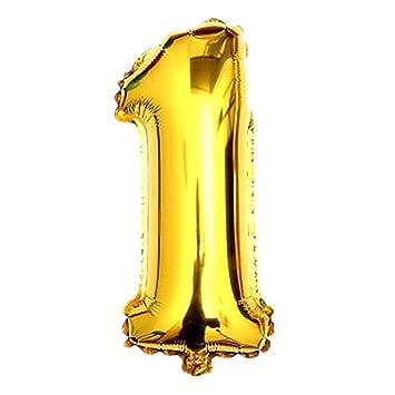 logei® Globo de la hoja globo de aire globo de la hoja del helio del globo globo formulario número 40 pulgadas, de oro (número 1)