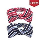 BINGPET 2 Pack Bow Tie Dog Collar for Small Dogs Bowtie Cat Collar by