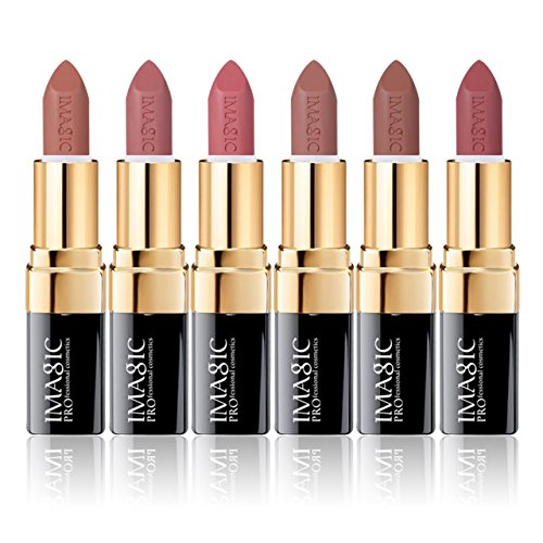 CCbeauty 6 Colors Lipsticks Set Matte for Girls Women Waterproof Long-Lasting Moisturizing Makeup Lipsticks,Nude and Natural Color Light,0.12oz/3.5g
