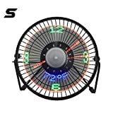 Clock Fan Small Desk Fan with Clock and Temperature Display,Metal Frame USB Powered Flashing LED Display Electric Little Personal Cooling Fan, Quiet Table Fan with USB Cable