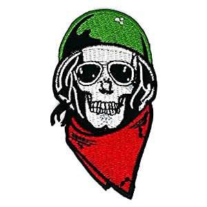 2 x 3.5 inches.SKULL Helmet Sunglasses Ghost Skull Skeleton Bone patch Symbol Jacket T-shirt Patch Sew Iron on Embroidered Sign Badge Costume