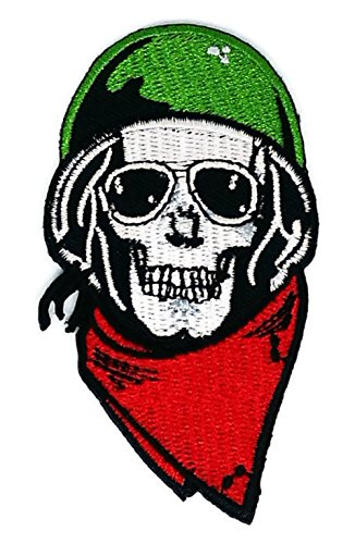 2 x 3.5 inches.SKULL Helmet Sunglasses Ghost Skull Skeleton Bone patch Symbol Jacket T-shirt Patch Sew Iron on Embroidered Sign Badge - Sunglasses Best Website