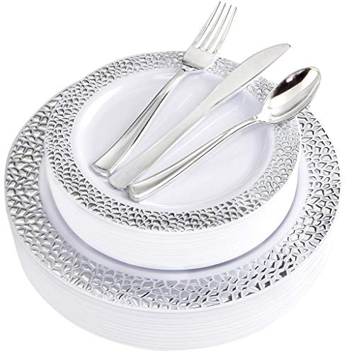 BUCLA 25 Guest Silver Plastic Plates with Disposable Plastic Silverware, Hammered Design Plastic Tableware include 25 Dinner Plates,25 Salad Plates,25 Forks, 25 Knives, 25 Spoons (Silver Edge Plates)