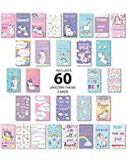 Lunch Box Notes for Kids 60 Pack Unicorn Themed- Motivational Inspirational Cards 30 Unique Designs to Put Love and Fun in Your Kid's Lunch Boxes