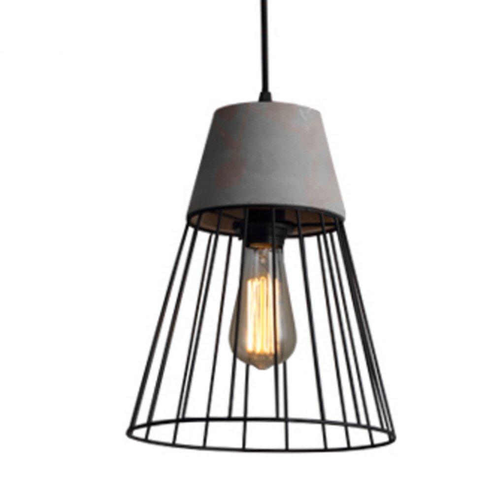 IJ INJUICY Loft Retro Industrial Wrought Iron Chandelier Vintage Cement Metal Birdcage Pendant Light Fixture for Restaurant Bar Corridor Villa (B)