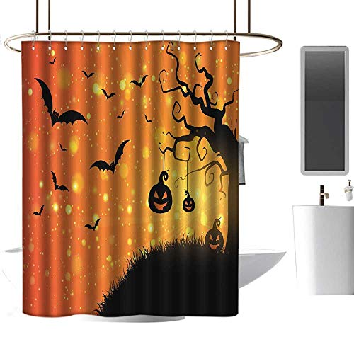 coolteey Shower Curtains for Bathroom Teal Halloween,Magical Fantastic Evil Night Icons Swirled Branches Haunted Forest Hill,Orange Yellow Black,W72 x L84,Shower Curtain for Women -