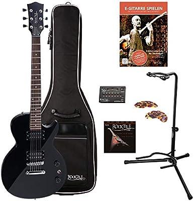 Rocktile Guitarra eléctrica LP-100 BL (con funda, afinador ...
