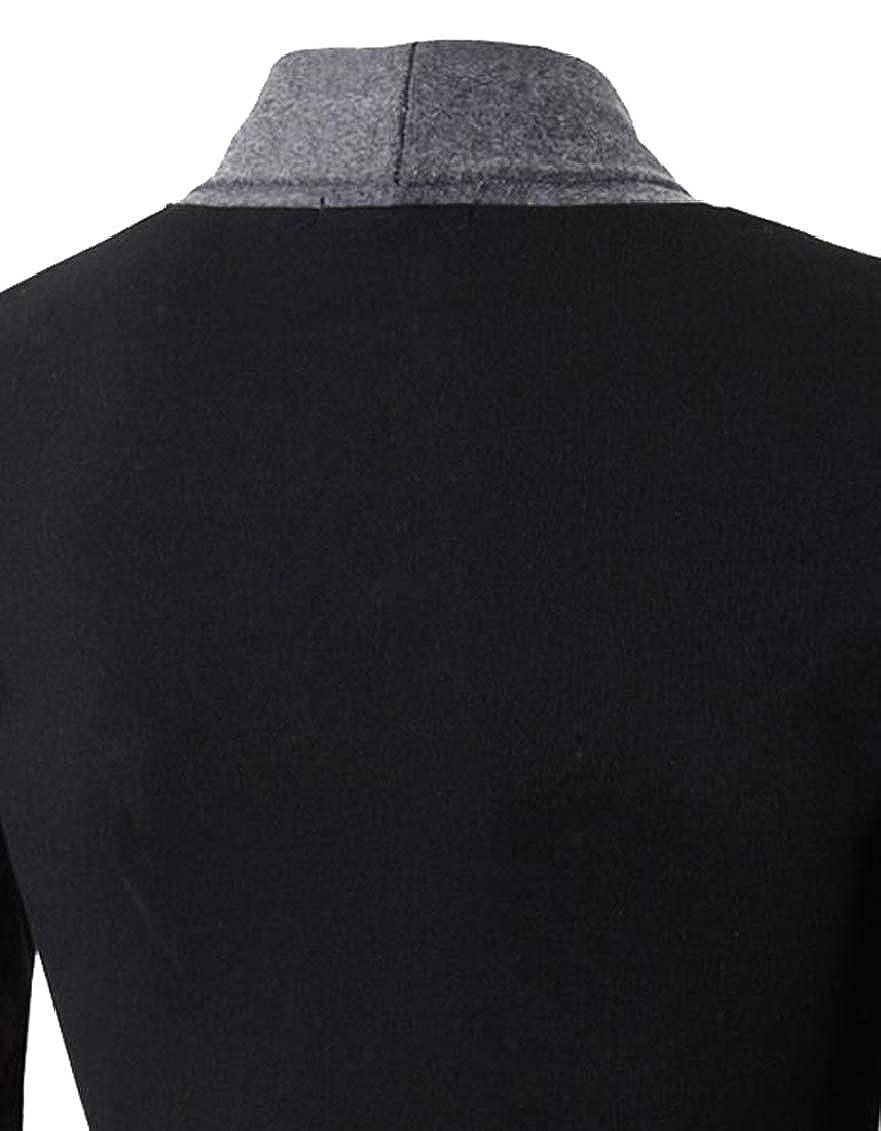 GAGA Mens Slim Fit Cotton Check Open Front Shawl Collar Stylish Wool Cardigan