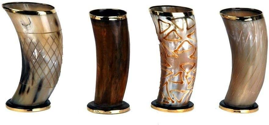 """Set of 4 Ceremonial 6"""" viking drinking horn Mug cups for ale beer wine mead gift"""